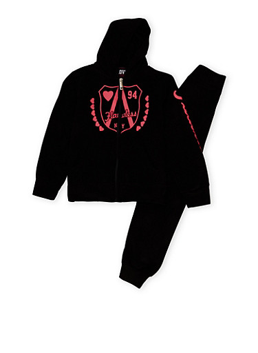 Girls 7-16 Flawless Graphic Hoodie and Joggers Set,BLACK,large
