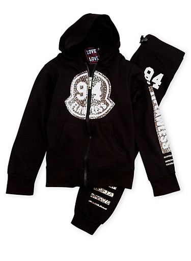 Girls 7-16 Hoodie and Joggers with 94 Flawless Leopard Print,BLACK,large