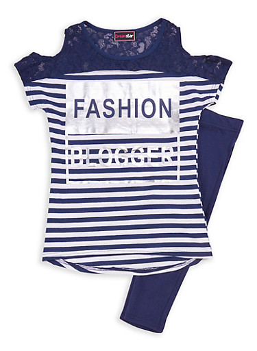 Girls 7-16 Fashion Blogger Stripe Top with Leggings,NAVY/WHT,large