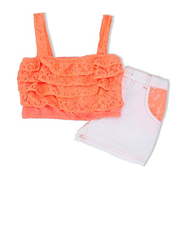 Girls 4-6x Tiered Ruffle Crop Top and Denim Shorts with Lace Pockets,NEON ORANGE,large