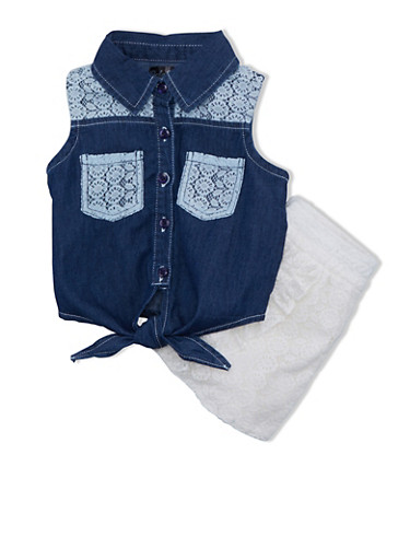 Girls 4-6x Denim Knot Waist Top and Crochet Shorts Set with Accent Pockets,BONE,large