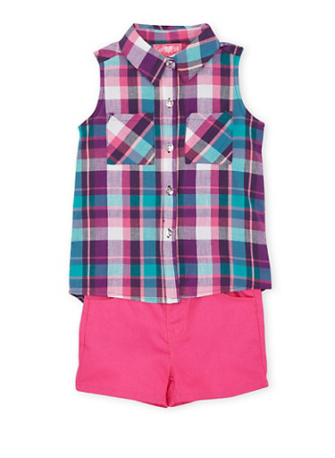 Girls 4-6x Plaid Shirt and Solid Shorts Set,TEAL,large