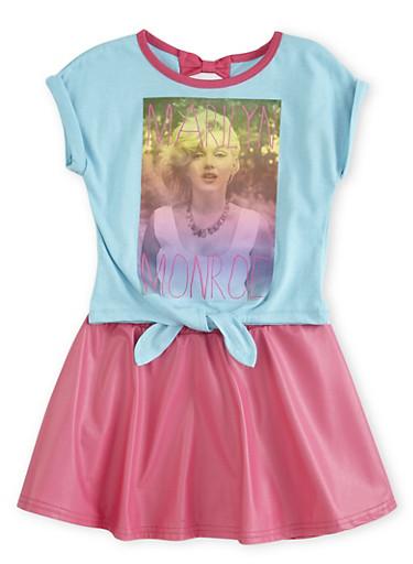 Girls 4-6x Marilyn Monroe Skirt Set,FUCHSIA,large