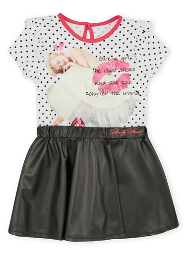 Girls 4-6x Marilyn Monroe Graphic Top and Faux Leather Skirt Set,WHITE,large
