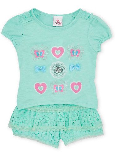 Girls 4-6x Embellished High Low Top and Lace Shorts Set,MINT,large