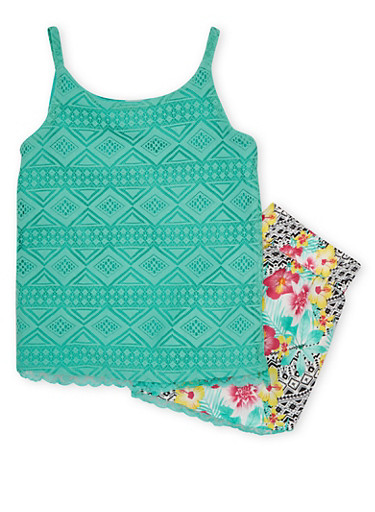 Girls 4-6x Lace Tank Top and Tropical Print Shorts Set,MINT,large