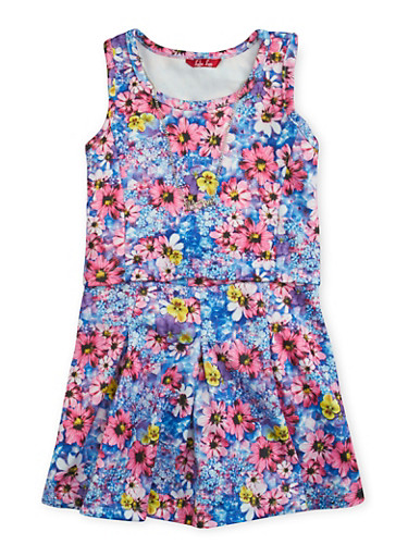 Girls 4-6x Tank Top and Skater Skirt with Floral Print and Necklace,BLUE,large
