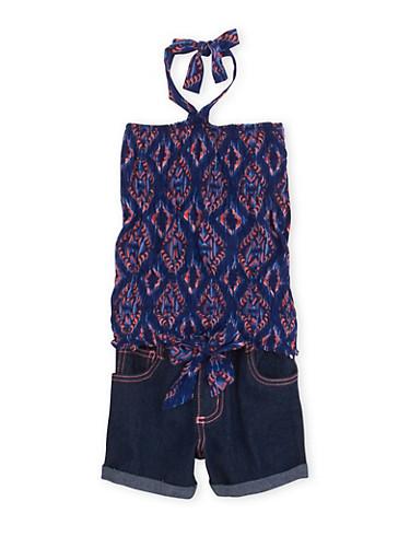 Girls 4-6x Halter Top and Denim Shorts Set with Ikat Print,DENIM,large