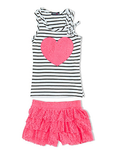 Girls 4-6x Striped Tank Top and Lace Skort Set with Heart Applique,FUCHSIA,large