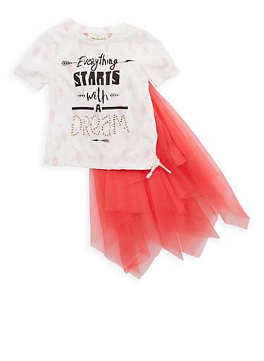 Girls 4-6x Rhinestone Graphic T Shirt and Tulle Tutu,PINK/IVY,large