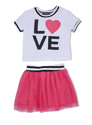 Girls 4-6x Quilted Top with Love Graphic and Tutu Set,FUCHSIA,large