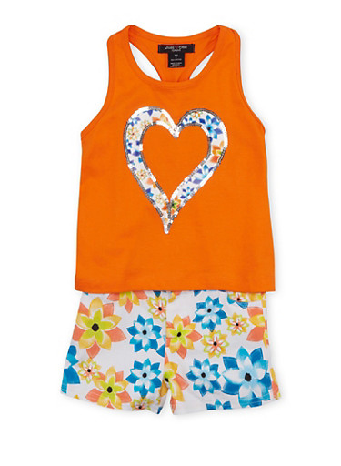 Girls 4-6x Racerback Top and Shorts Set with Sequin Accents,ORANGE,large