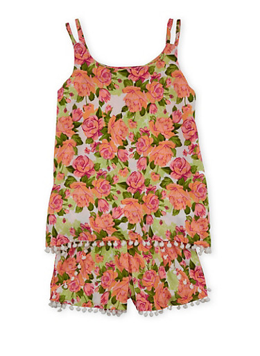 Girls 7-16 Floral Print Tank Top and Shorts Set,BEETROOT,large