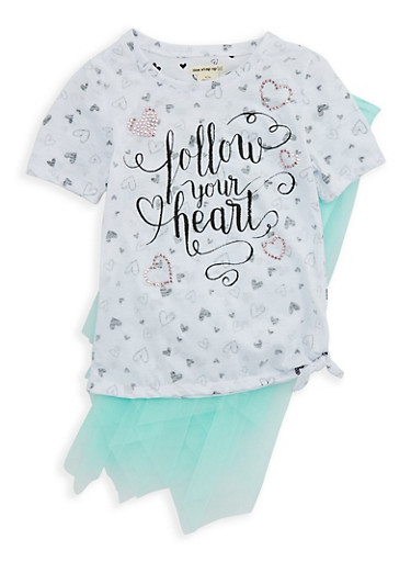 Girls 6x-16 Graphic Heart Print Top and Tutu Set,GREEN,large