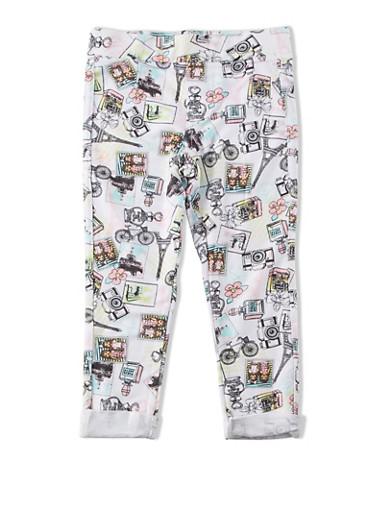 Girls 4-6x Paris Print Leggings with Cuffed Legs,PINK,large