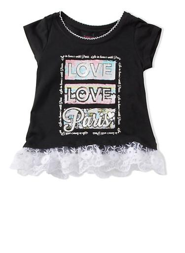 Girls 4-6x Love Love Paris Graphic Floral Lace Ruffle Hem Top,BLACK,large