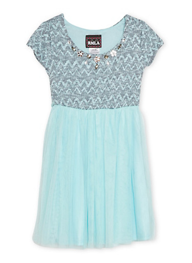 Girls 4-6x Jeweled Knit Dress with Tulle Skirt,AQUA,large