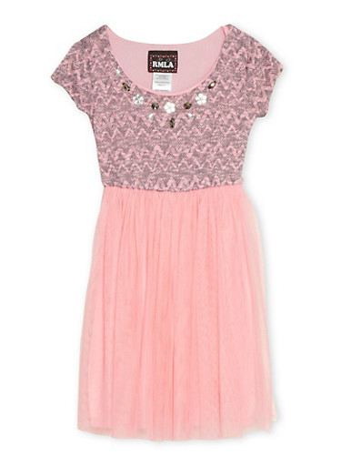 Girls 4-6x Jeweled Knit Dress with Tulle Skirt,PINK,large