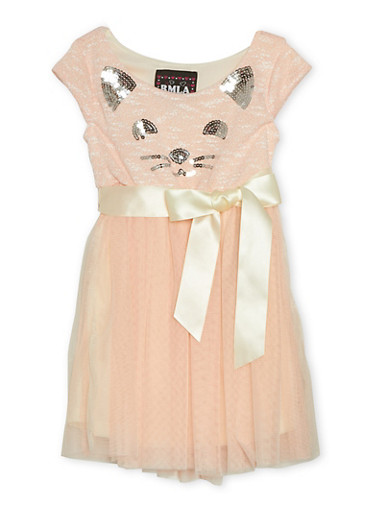 Girls 4-6x Knit and Tulle Dress with Sequins,BLUSH,large