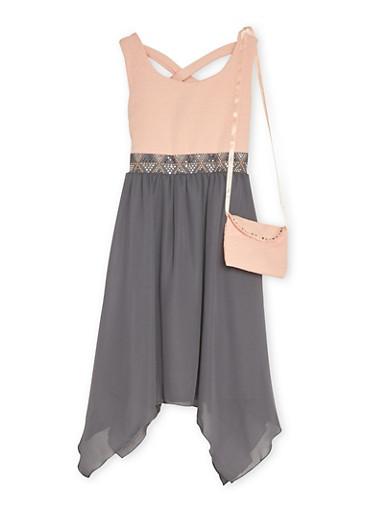 Girls 4-6x Studded Dress with Purse Set,PINK,large