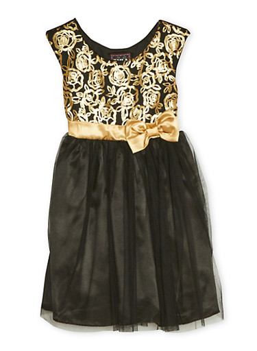 Girls 4-6x Sequin Dress with Tulle Skirt and Bow,BLACK,large