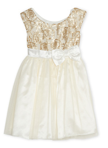 Girls 4-6x Sequin Dress with Tulle Skirt and Bow,IVORY,large