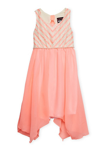 Girls 4-6x Sleeveless Chevron Lace Dress with Pearl Accent,PINK,large