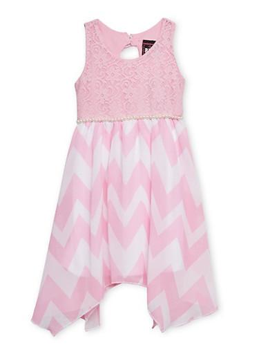 Girls 4-6x Sleeveless Lace Dress with Chevron Skirt,PINK,large