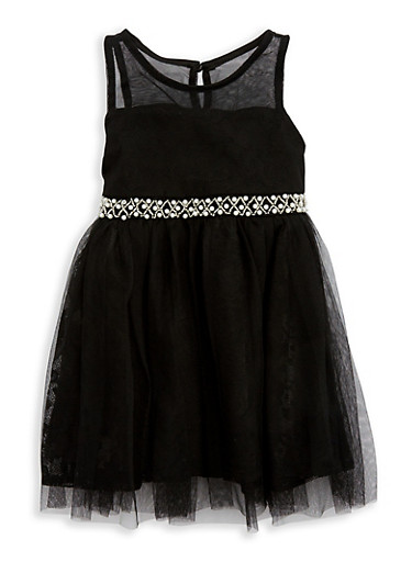 Girls 4-6x Mesh Dress with Beaded Waist Detail,BLACK,large