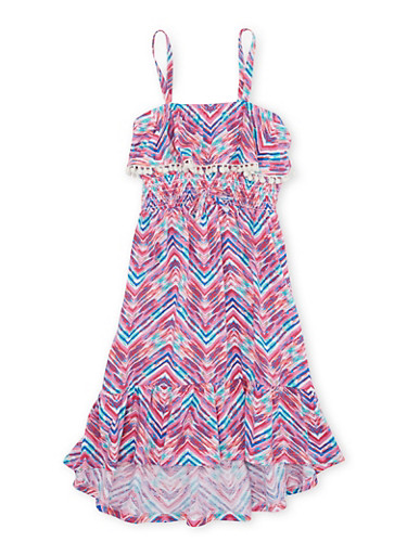 Girls 4-6x Printed Dress with Ruffle Detail,NEON PINK,large