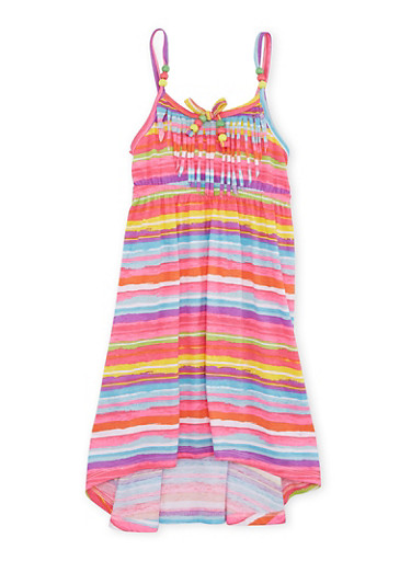 Girls 4-6x Striped High Low Dress with Beaded Fringe Neckline,PINK,large