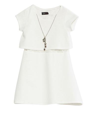 Girls 4-6x Ivory Short Sleeve Textured Knit Skater Dress With Lace Underlay,IVORY,large