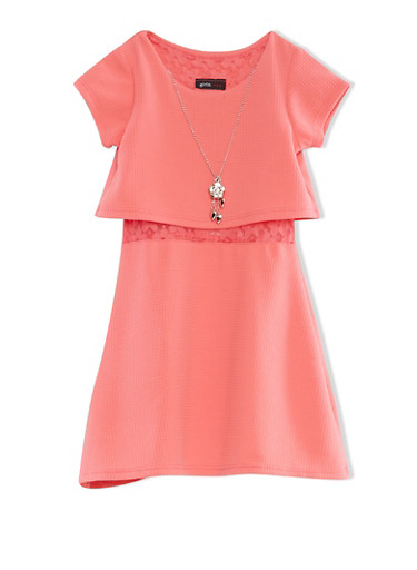 Girls 4-6x Pink Short Sleeve Textured Knit Skater Dress With Lace Underlay,CORAL,large