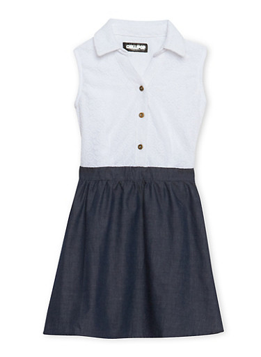 Girls 4-6x Lace Skater Dress with Chambray Skirt,DENIM,large