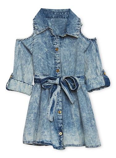 Girls 4-6x Acid Wash Denim Dress with Cold Shoulder Cutouts,DENIM,large