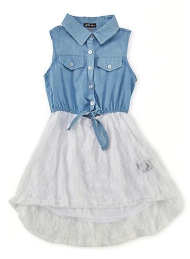 Girls 4-6x Sleeveless Denim Dress with Lace Skirt,DENIM,large