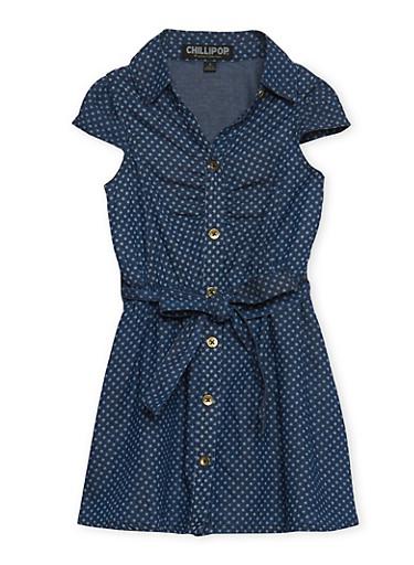 Girls 2T-6x Denim Shirt Dress with Belt,DENIM,large