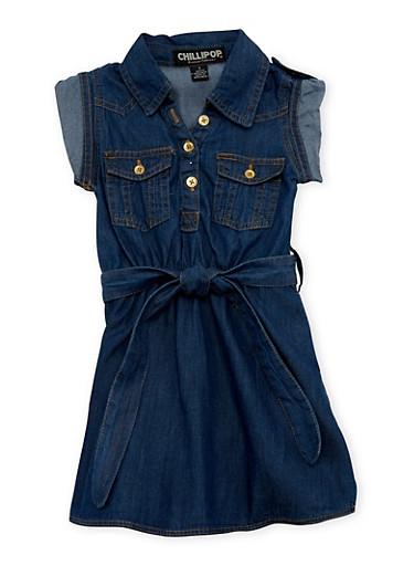 Girls 4-6x Belted Denim Shirt Dress,DENIM,large