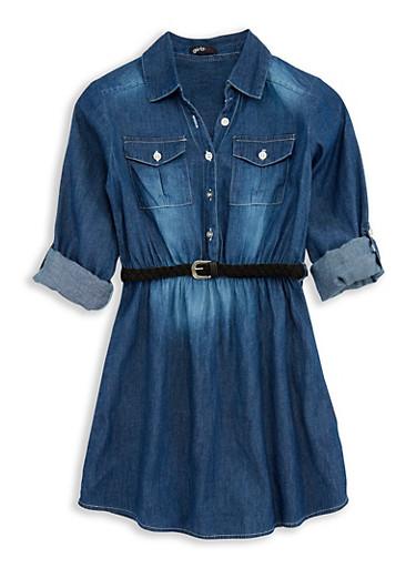 Girls 4-6x Belted Button Front Denim Dress,DENIM,large