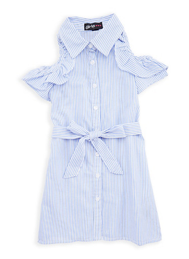 Girls 4-6x Striped Cold Shoulder Shirt Dress,WHITE/BLUE,large