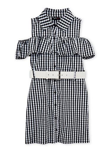 Girls 4-6x Gingham Print Belted Dress,BLACK/WHITE,large