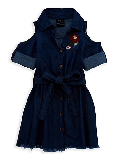 Girls 4-6x Embroidered Button Front Denim Dress,DARK,large