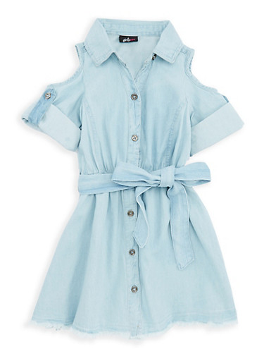 Girls 4-6x Cold Shoulder Belted Denim Dress,MED,large