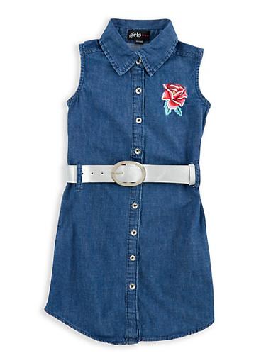 Girls 4-6x Belted Embroidered Denim Dress,DARK,large