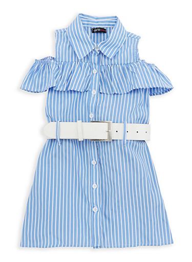 Girls 4-6x Striped Cold Shoulder Dress with Belt,WHITE/BLUE,large