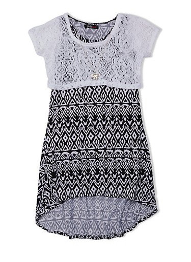 Girls 4-6x Printed Dress with Lace Top and High-Low Hem,WHITE,large