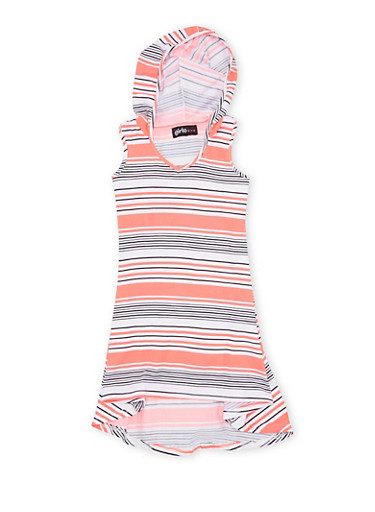 Girls 4-6x Striped Dress with Hood and High-Low Hem,BLACK,large