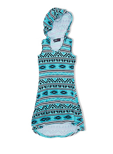 Girls 4-6x Brushed Knit Aztec Print Hooded Dress with High Low Hem,MINT/BLACK,large