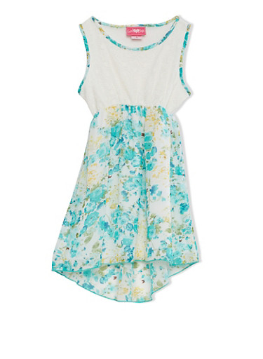 Girls 4-6x Sleeveless High-Low Dress With Lace and Floral Print Chiffon Overlays,MINT,large