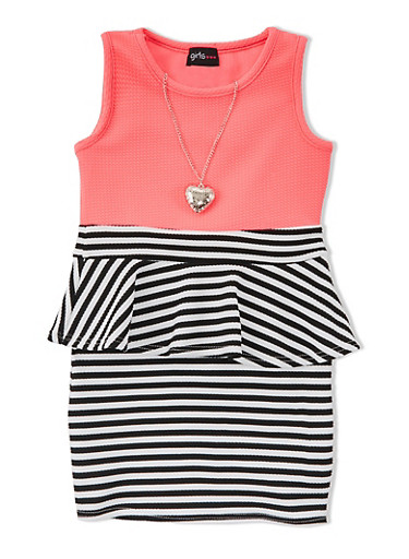 Girls 4-6x Striped Peplum Dress with Solid Top and Heart Necklace,NPNK/BLK/WHT,large
